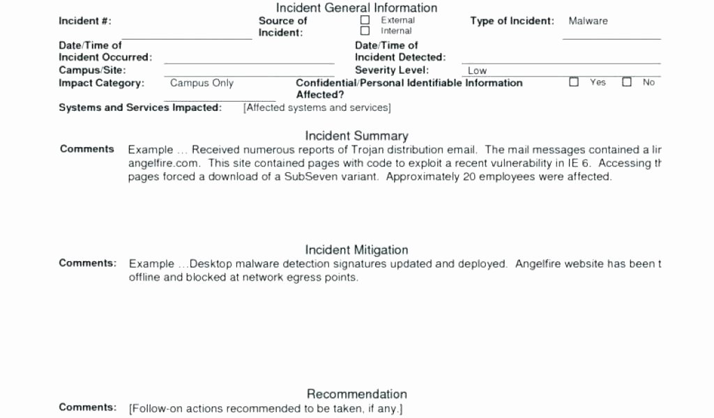 Incident Response Report Template Awesome Malware Incident Response Template Security Guard Incident