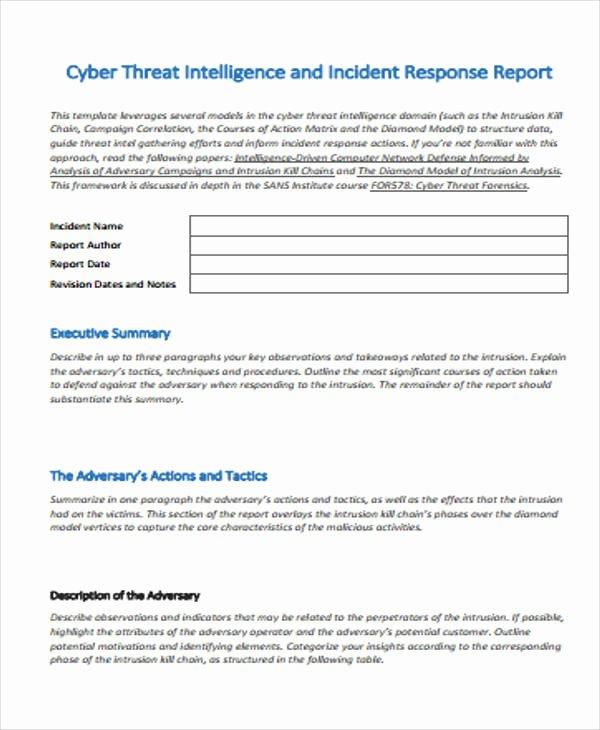Incident Response Report Template Beautiful 53 Incident Report Examples