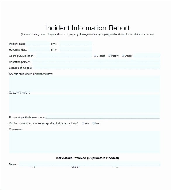 Incident Response Report Template New Security Incident Report form Information Template Sample