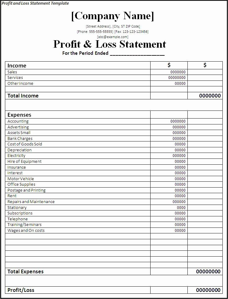 Income and Expense Statement Template New Profit and Loss Statement Template Planners