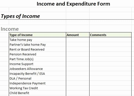 Income and Expense Statement Template Unique Example In E and Expenditure form