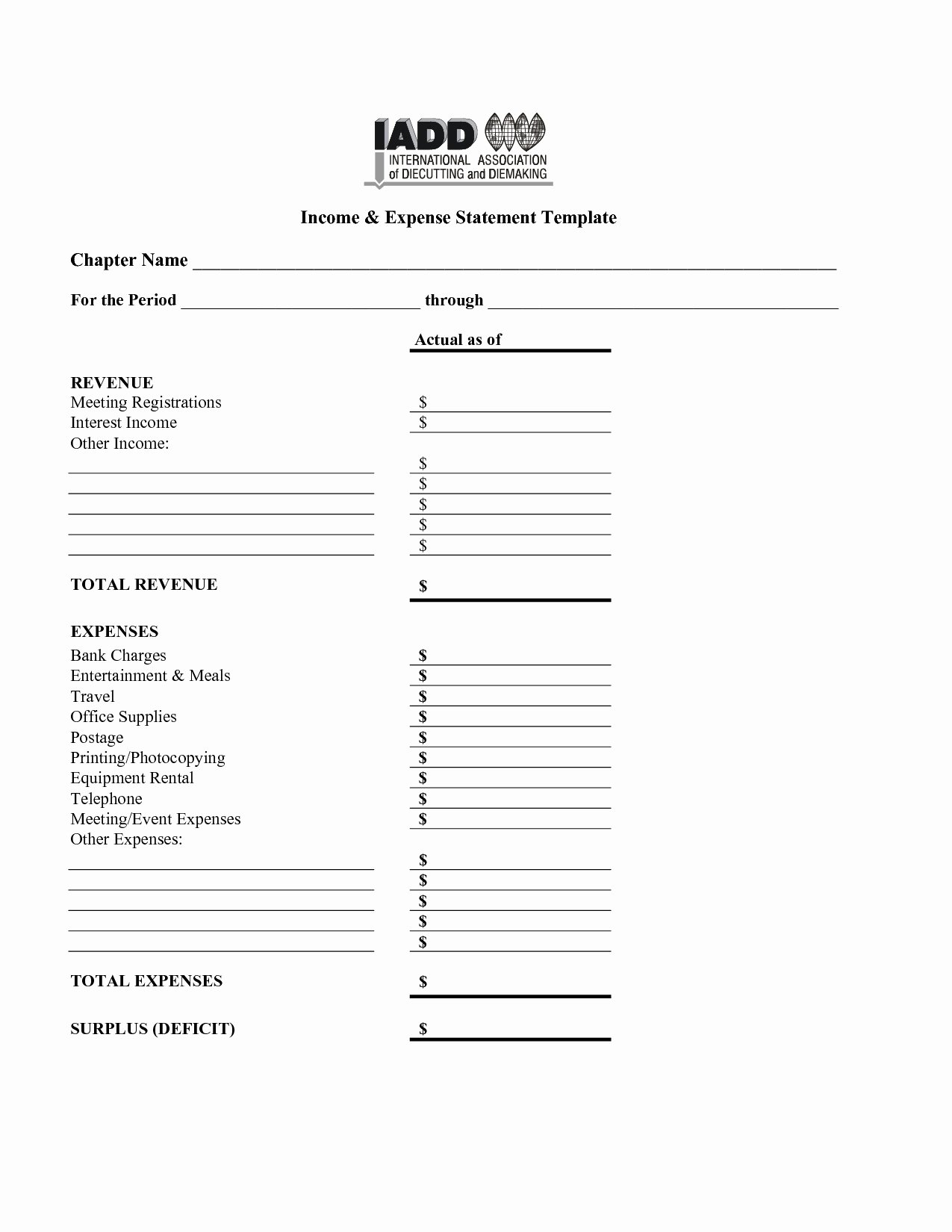 Income and Expense Template Inspirational In E and Expense Statement Template 2018