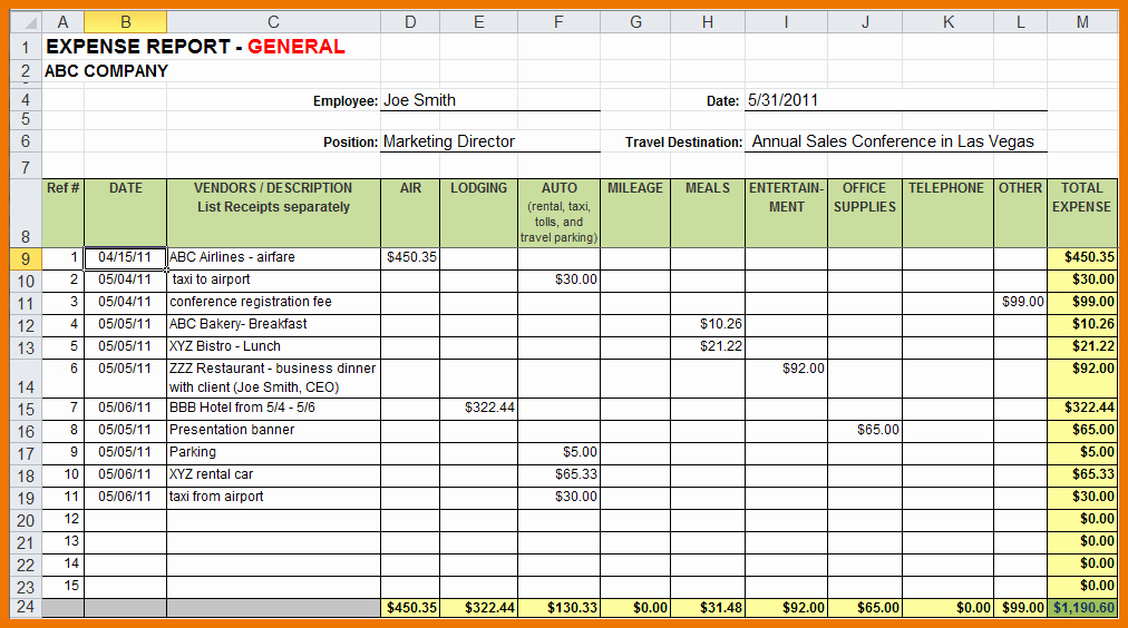 Income Expense Report Template Unique Sample Expense Report