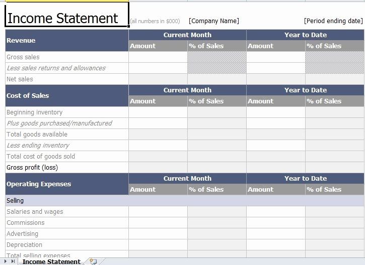 Income Statement Excel Template Best Of In E Statement Template Excel