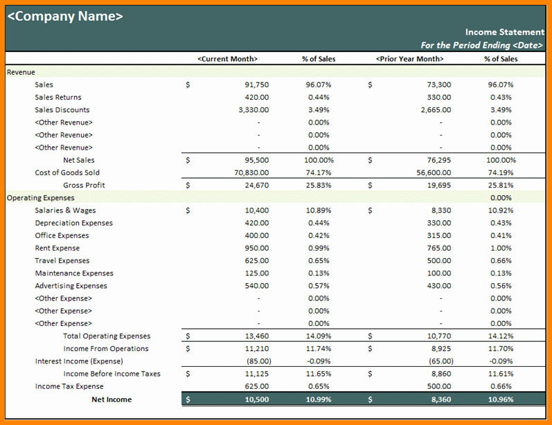 Income Statement Excel Template Elegant 4 In E Statement Template Excel