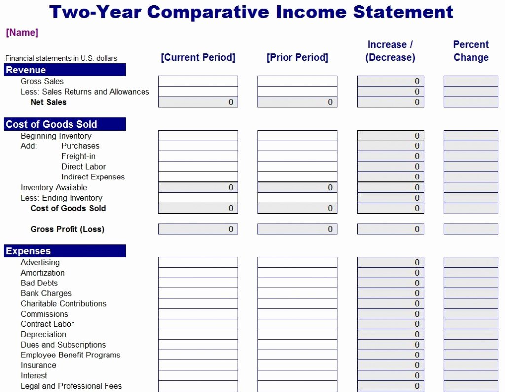 Income Statement Excel Template Elegant Parative In E Statement