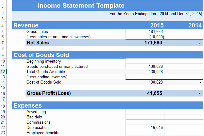 Income Statement Excel Template New In E Statement Template Excel Free