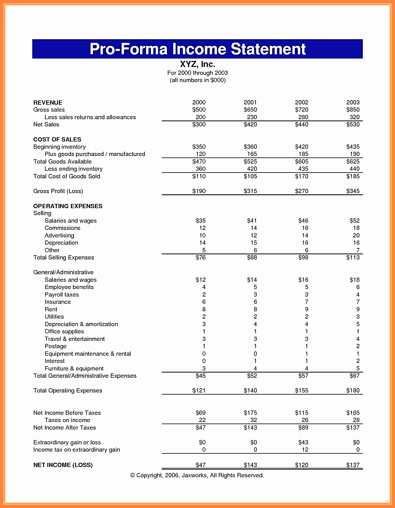 Income Statement Excel Template Unique 10 Pro forma In E Statement Excel