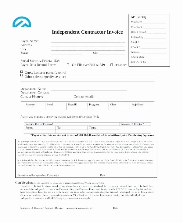 Independent Consultant Invoice Template Lovely Independent Contractor Invoice Template – Vraccelerator