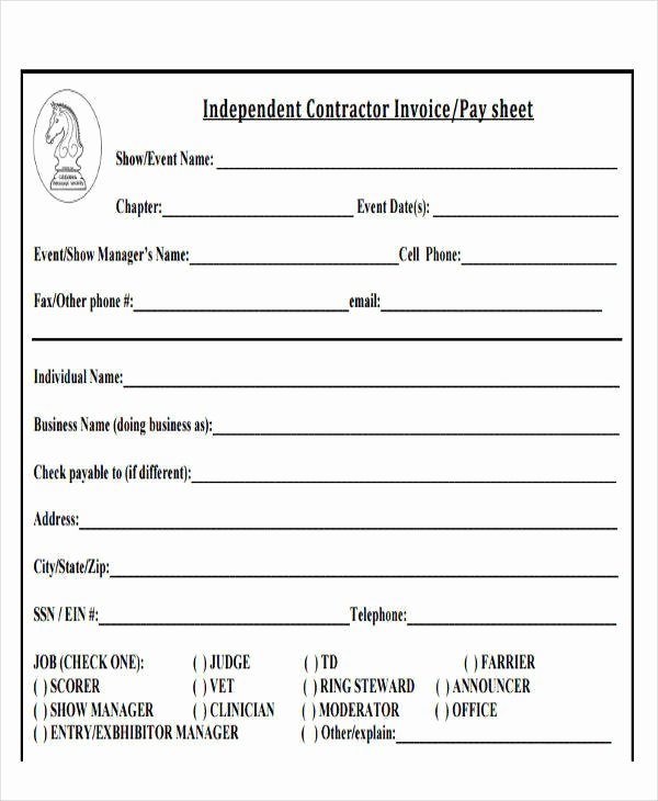 Independent Contractor Billing Template Fresh 20 Sample Contractor Invoices