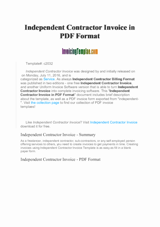 Independent Contractor Billing Template Luxury Independent Contractor Invoice Template Printable Pdf