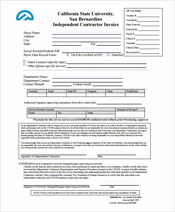 Independent Contractor Invoice Template Elegant Invoice Template for Mac Line