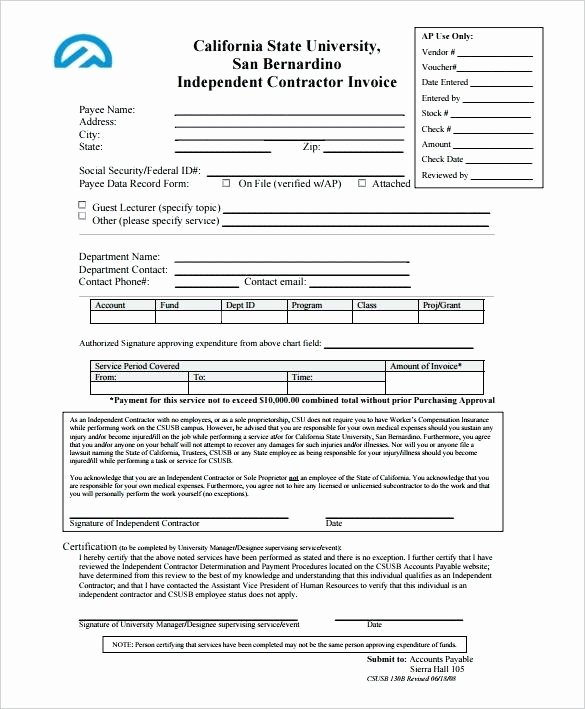 Independent Contractor Invoice Template Free Elegant Independent Contractor Excel Template Free Independent