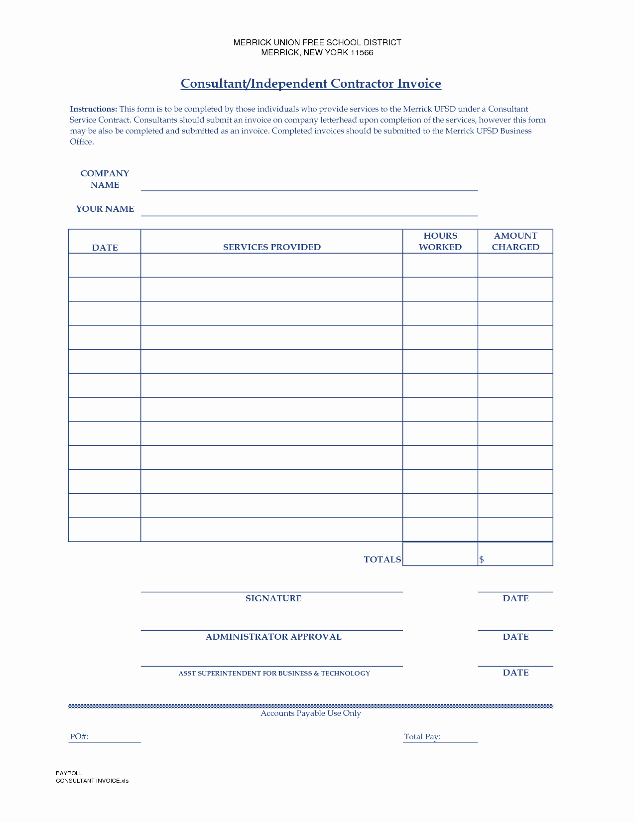Independent Contractor Invoice Template Free Unique Independent Contractor Invoice Template