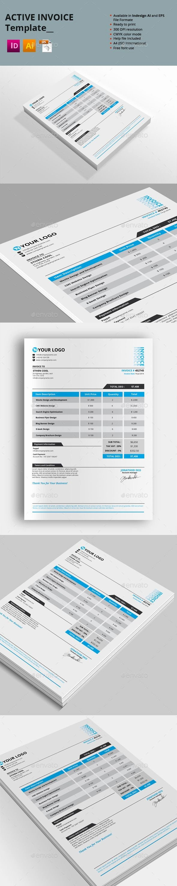 Indesign Invoice Template Free Awesome Active Invoice Templates — Vector Eps Grey Indesign