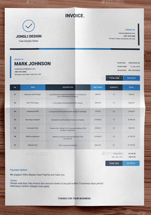 Indesign Invoice Template Free Best Of Indesign Invoice Template 7 Free Indesign format