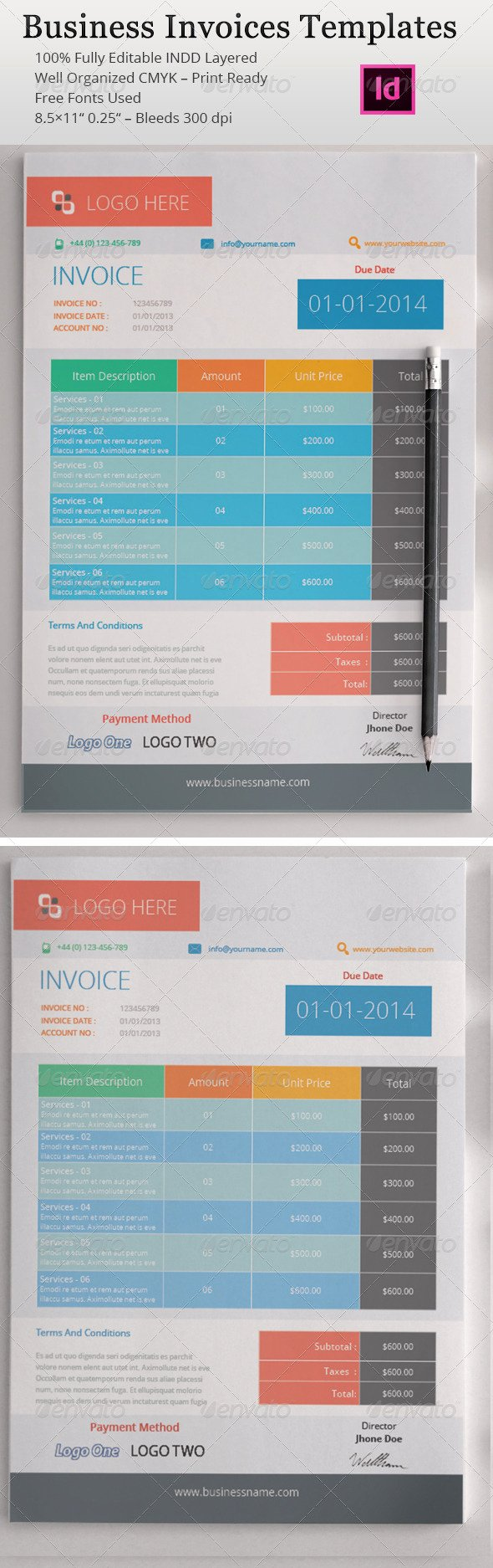 Indesign Invoice Template Free Elegant Indesign Templates Invoices Dondrup