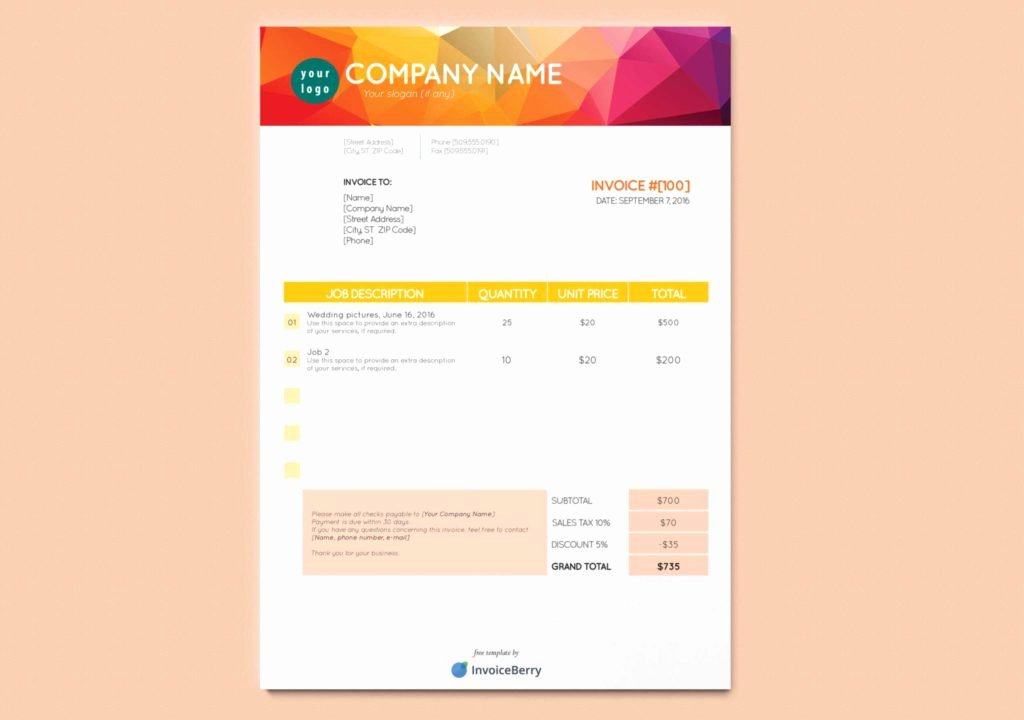 Indesign Invoice Template Free Unique Invoice Template for Graphic Designer Freelance and Free