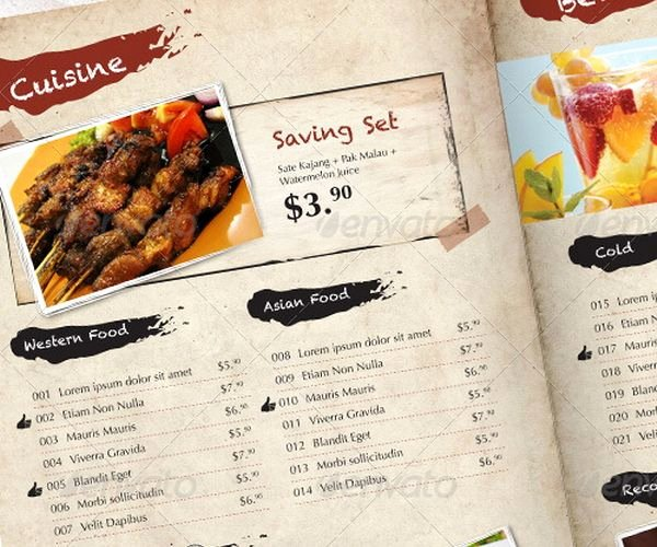Indesign Menu Template Free Awesome 30 Food Menus Templates for Café and Restaurants