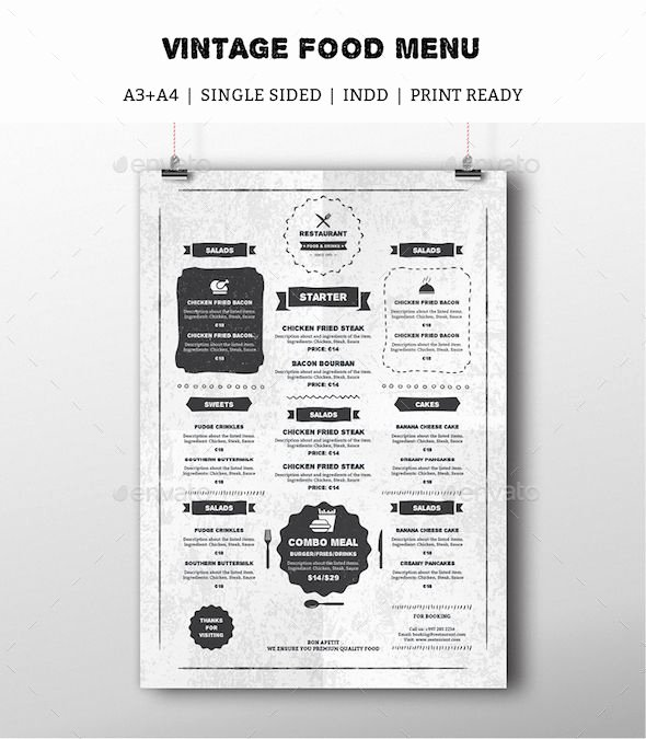 Indesign Menu Template Free Awesome Vintage Food Menu — Indesign Template Drinks Menu Rustic