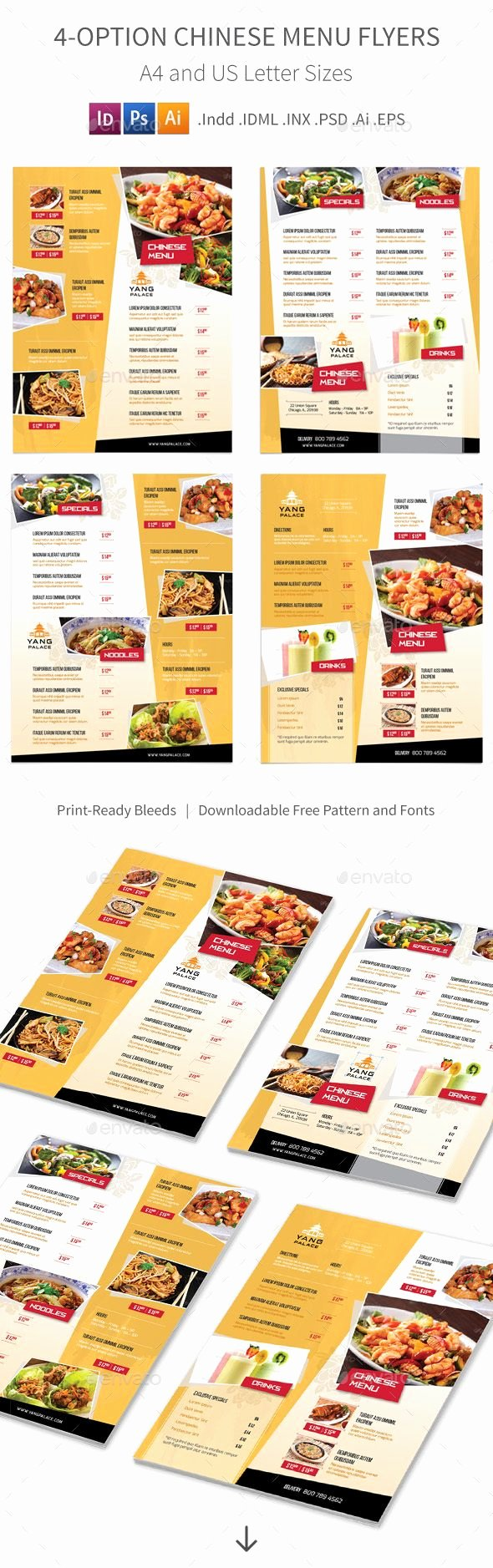Indesign Menu Template Free Best Of 4 Options Chinese Restaurant Menu Flyers Template Psd