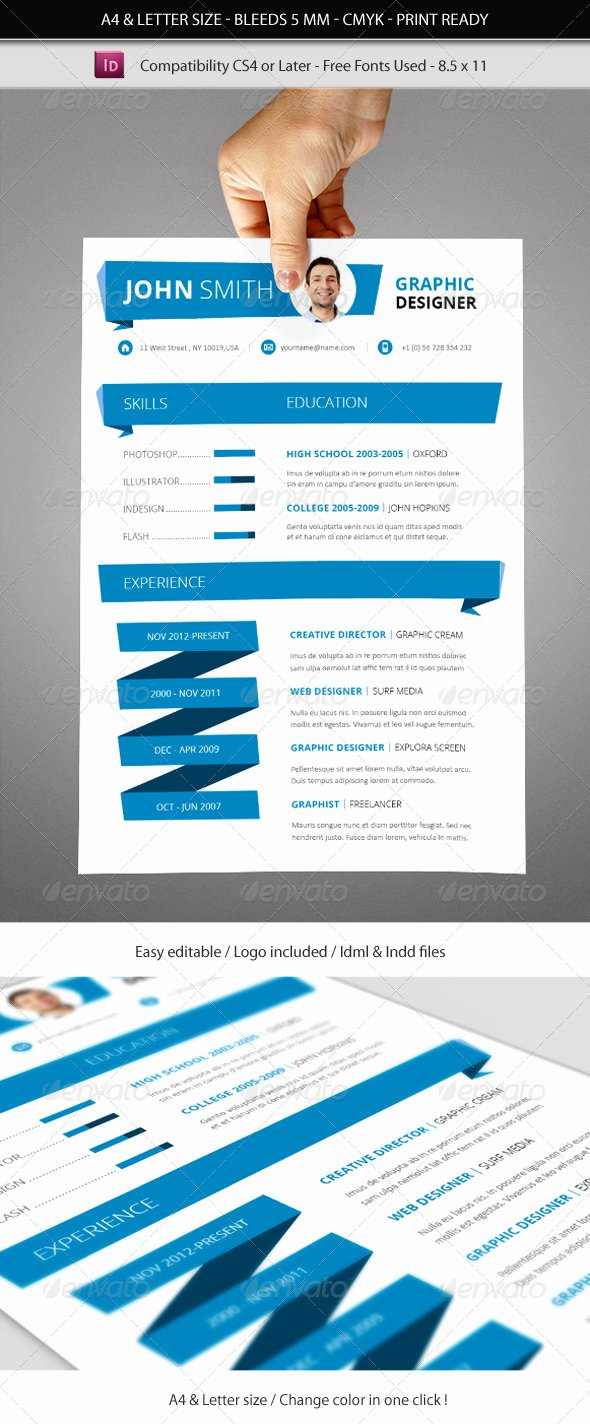 Indesign Menu Template Free Best Of Indesign Resume Template A4 & Letter Size by Franceschi