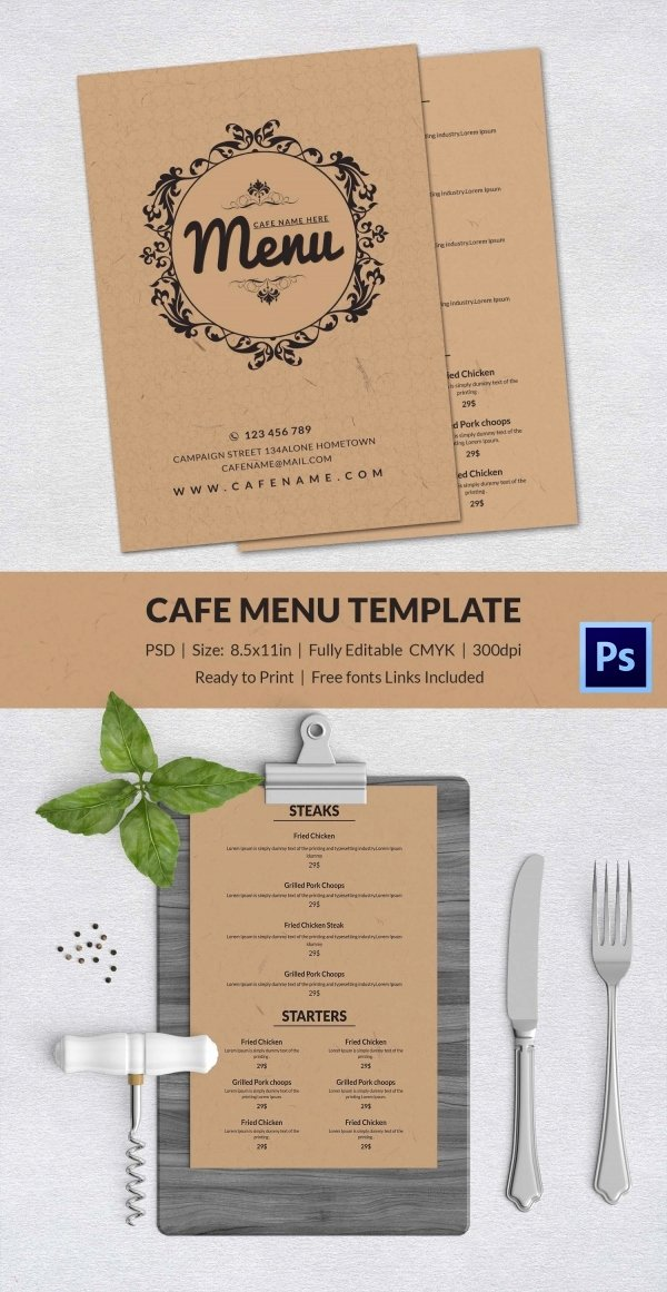 Indesign Menu Template Free New Cafe Menu Template 40 Free Word Pdf Psd Eps