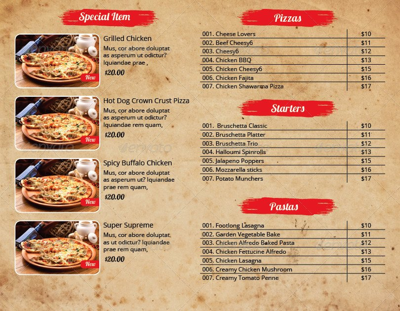 Indesign Menu Template Free Unique Pizza Menu and Flyer Indesign Template Pack by Azadcsstune