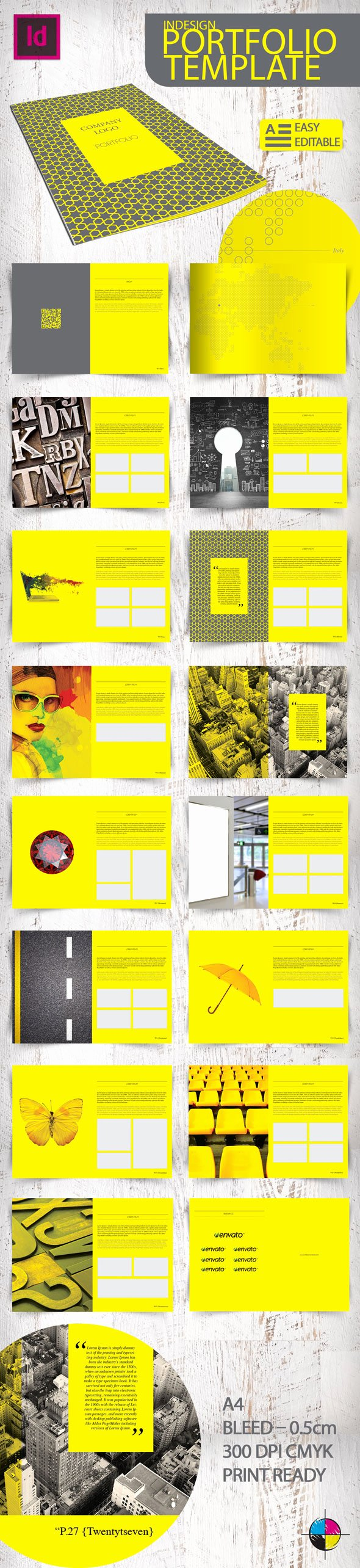 Indesign Portfolio Template Free Elegant Indesign Portfolio Template On Behance
