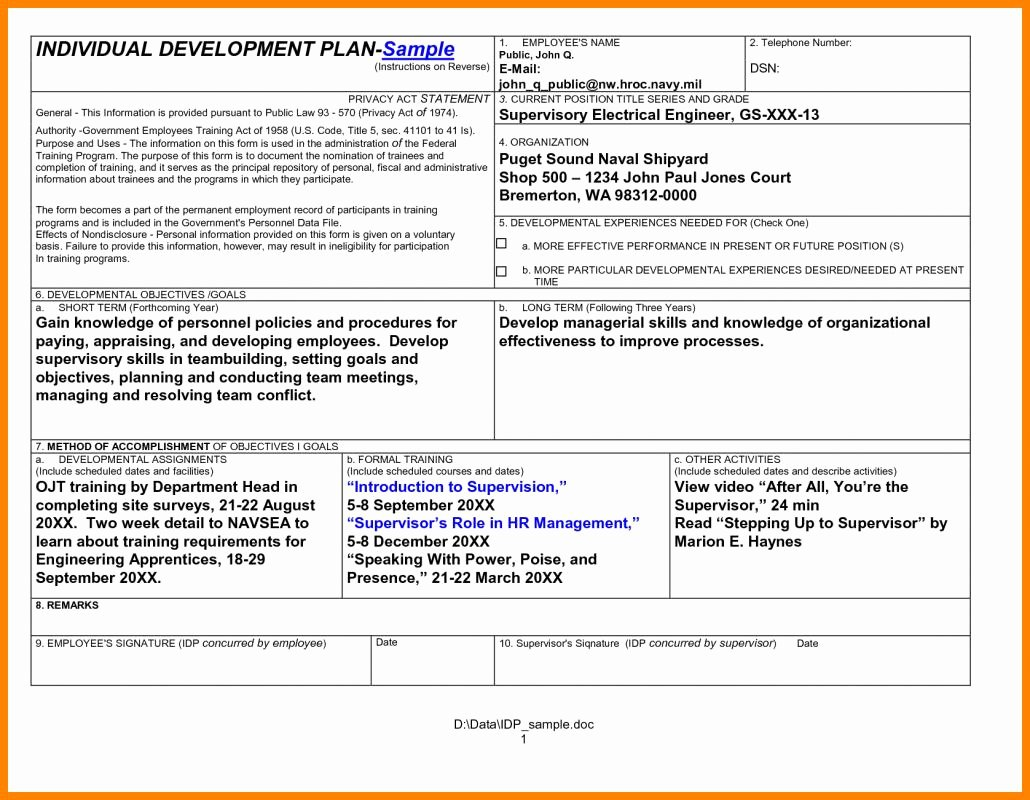 Individual Development Plan Template Best Of Employee Development Plan Template