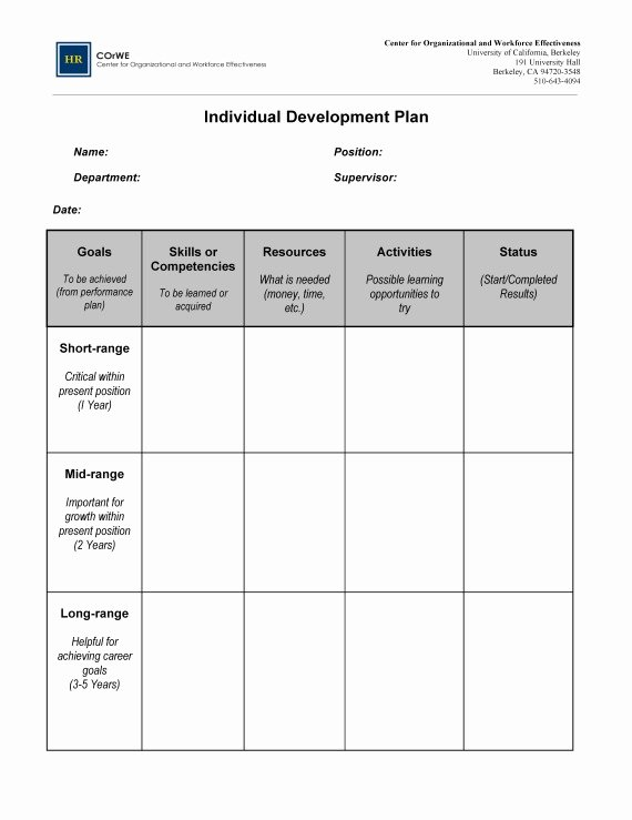 Individual Development Plan Template Elegant Employee Career Development Plan Template