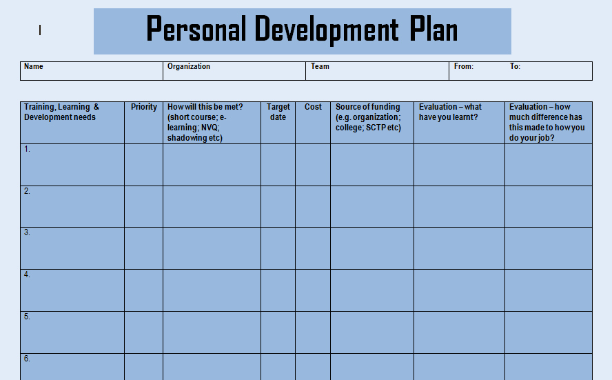 Individual Development Plan Template Excel Fresh Get Personal Development Plan Doc Templates