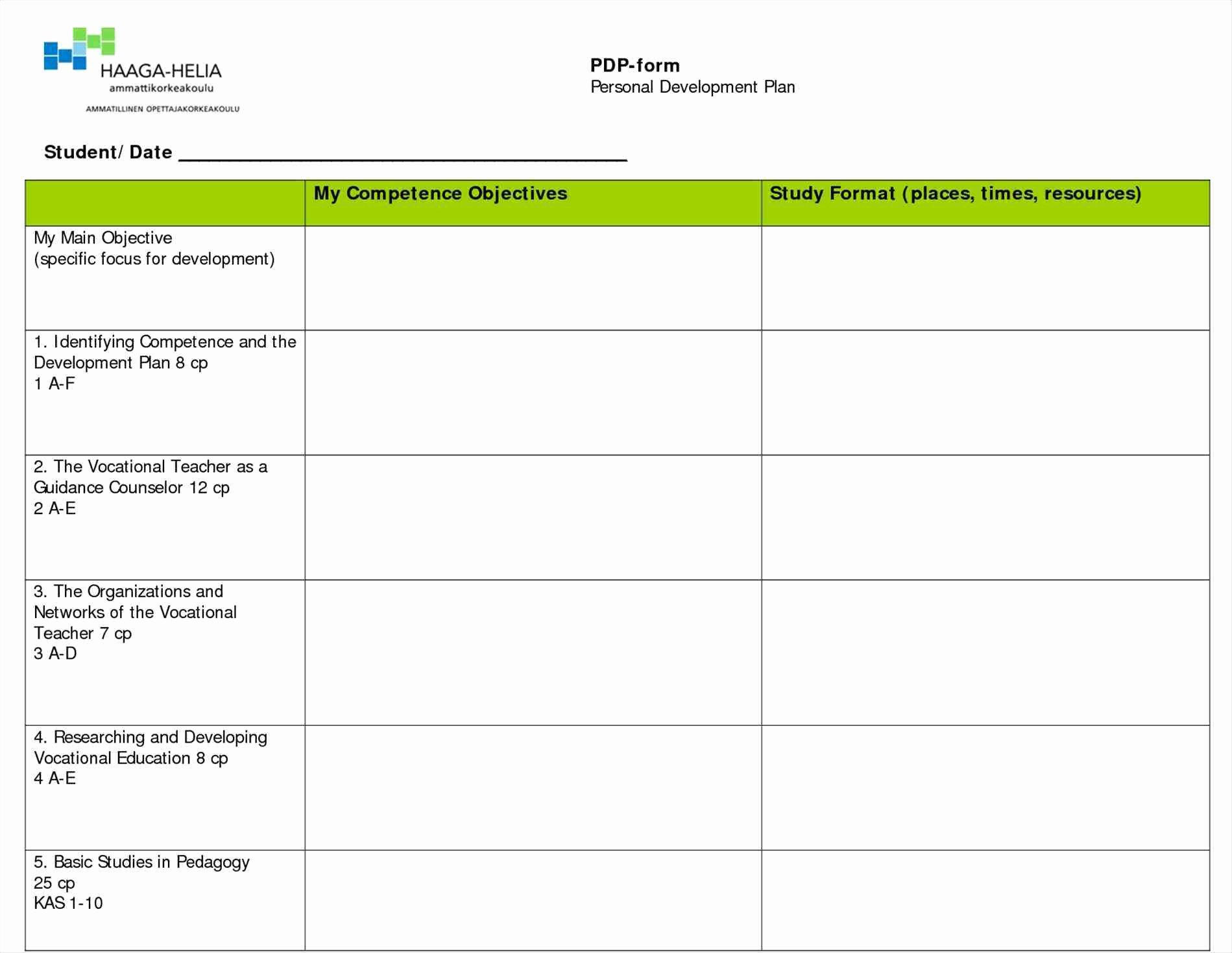 Individual Development Plan Template Excel Luxury Personal Development Plan Template Excel