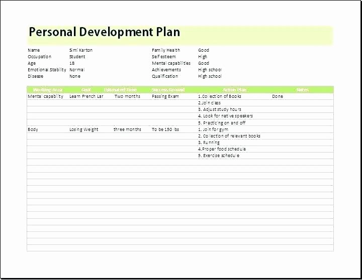 Individual Development Plan Template Excel New Personal Development Plan Template Excel Development Plan