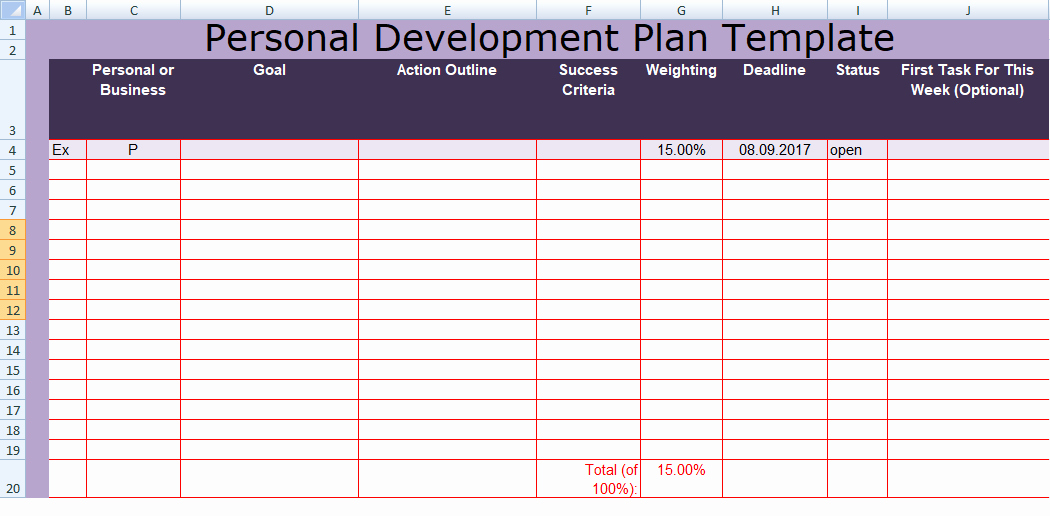 Individual Development Plan Template Excel Unique Get Personal Development Plan Template Excel