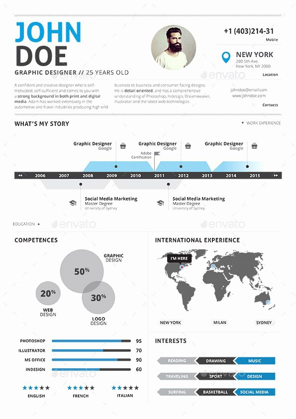 Infographic Resume Template Free Elegant Infographic Resume Vol 2 by Paolo6180