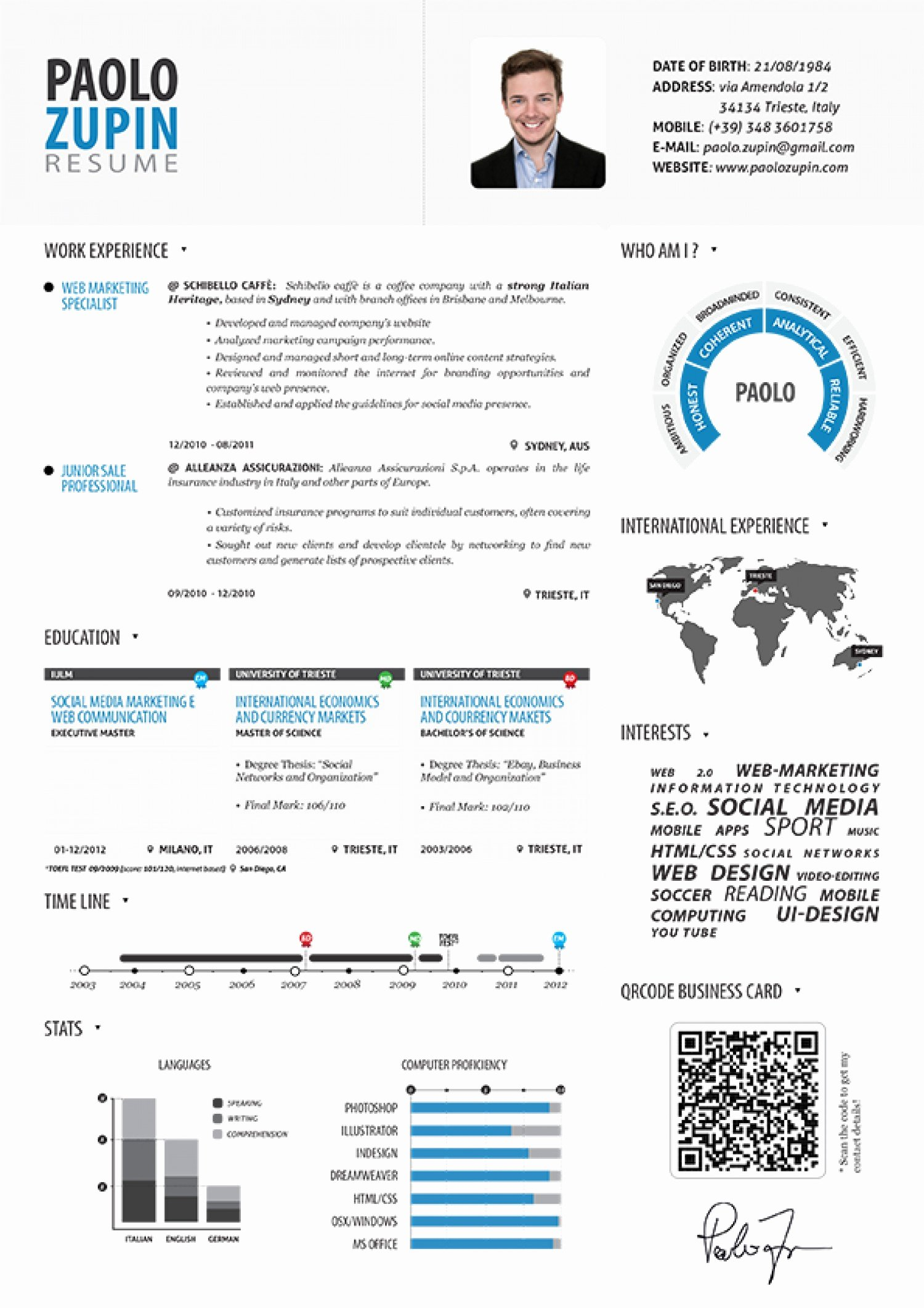 Infographic Resume Template Word Elegant Paolo Zupin Infographic Resume