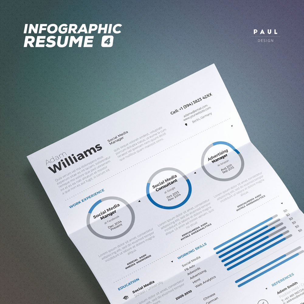 Infographic Resume Template Word New Infographic Resume Vol 4 Word and Indesign by