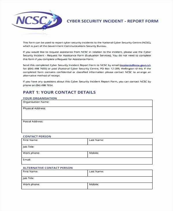 Information Security Incident Report Template Best Of Security Incident Report form Information Template Sample
