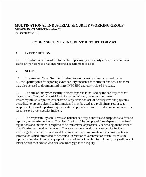 Information Security Incident Report Template Elegant 13 Sample Security Incident Reports – Pdf Word