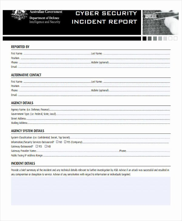 Information Security Incident Report Template Fresh 39 Free Incident Report Templates Pdf Word