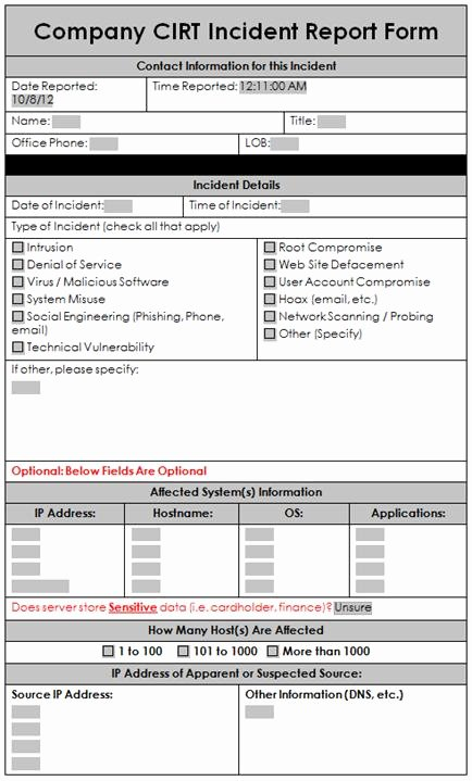 Information Security Incident Report Template Lovely A Sample Incident Response Report form Enterprise