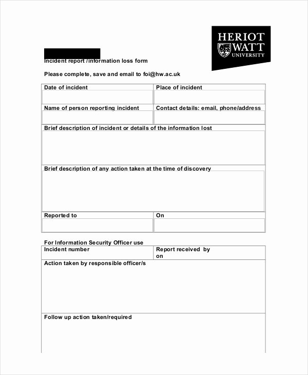 Information Security Incident Report Template New 20 Sample Incident Report Templates Pdf Doc