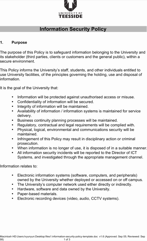 Information Security Policy Template Beautiful Download 7 Security Policy Templates for Free formtemplate