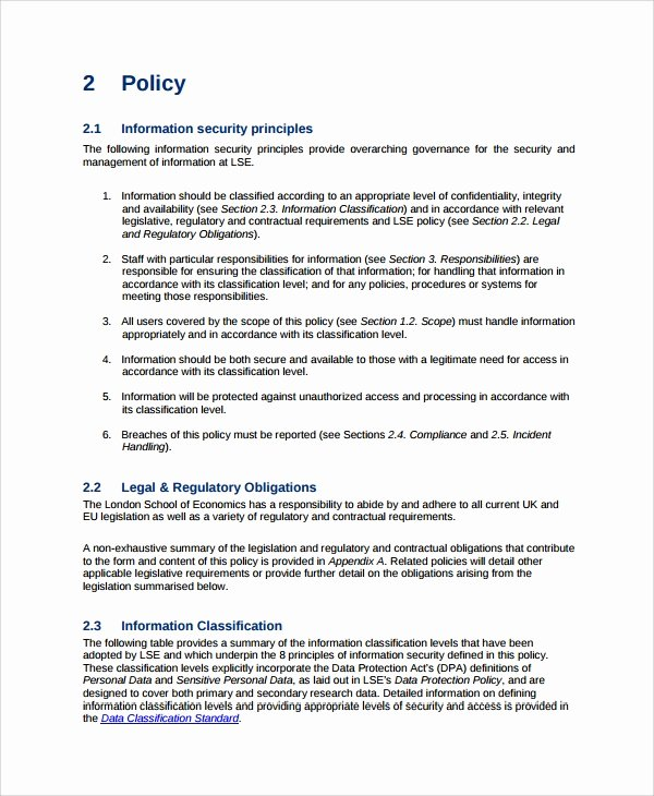 Information Security Policy Template Best Of Sample It Security Policy Template 9 Free Documents