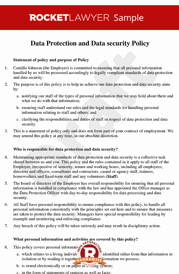 Information Security Policy Template Elegant Data Protection Policy Data Security Policy Data