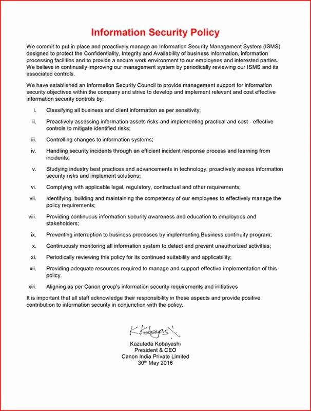 Information Security Policy Template Lovely Information Security Policy Template