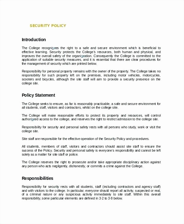 Information Security Policy Template Lovely Information Security Policy Template Sample Sweet for It