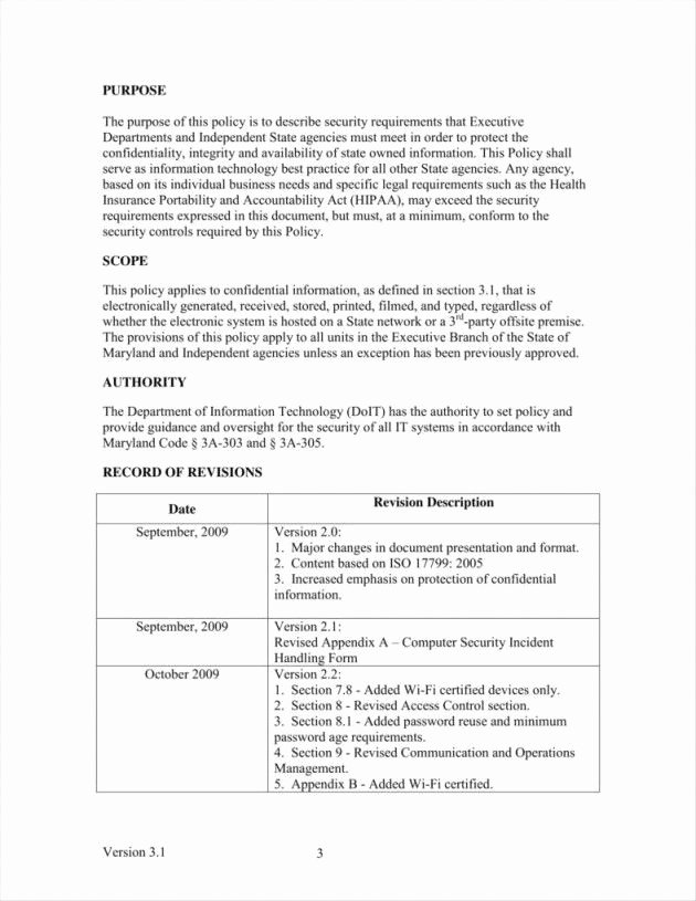 Information Security Policy Template New Information Security Policy Document Template