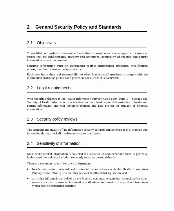 Information Security Policy Template Unique Security Policy Template 7 Free Word Pdf Document
